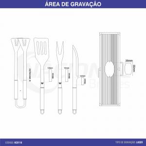 KIT CHURRASCO 4 PEÇAS COM MALETA KC0118
